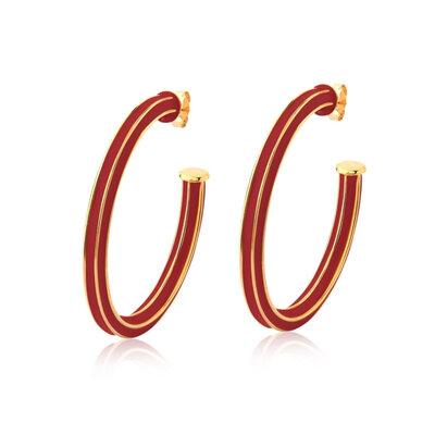 Argola Faces Esmaltada Vermelha Ouro 5 cm