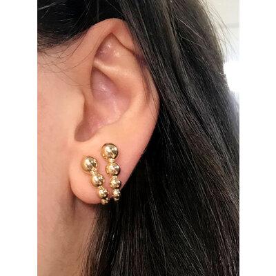 Brinco Ear hook Duplo Bolinhas Ouro