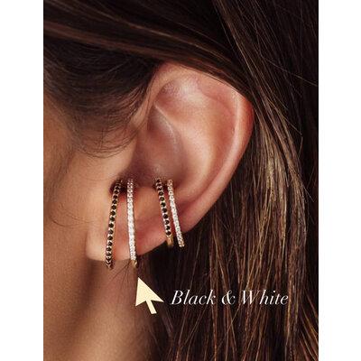 Ear Hook Slim Cravejado Ouro18k