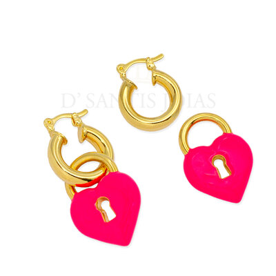 Argola com pingente de Cadeado Coracao removivel Pink Neon