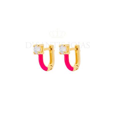 Argola Ponto de Luz Esmaltada Pink Neon Ouro18k