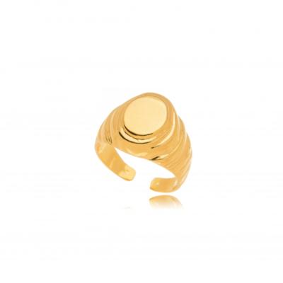 Anel Oval Liso Ouro18k (ajustavel)