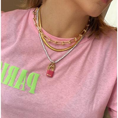 Pingente Cadeado BELIEVE Esmaltado Rosa Ouro