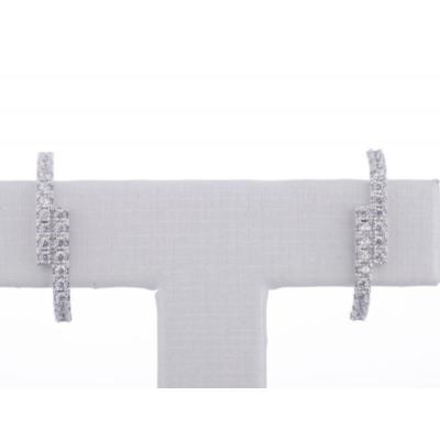 Brinco ear hook cravejado classico prata925 com ouro branco 18k