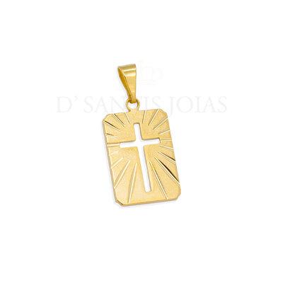 Pingente Placa Cruz Ouro18k