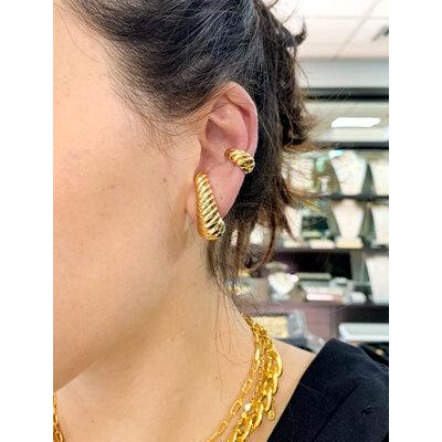Brinco Ear hook Tubo Bold Caracol Ouro18k