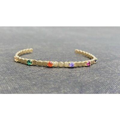 Bracelete Delicado Bolinhas Rainbow Ouro18k