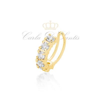 Piercing Cravejado Cristal Ouro18k
