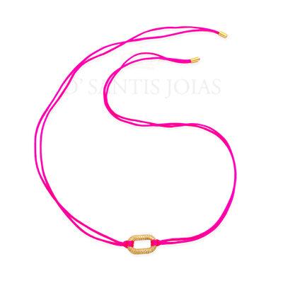 Fio de Seda Pink Neon com Pingente Cravejado Ouro
