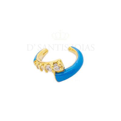Piercing Duplo Cravejado e Esmaltado Azul Ouro18k