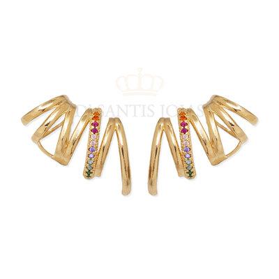 Brinco ear cuff hastes com cravação rainbow Ouro