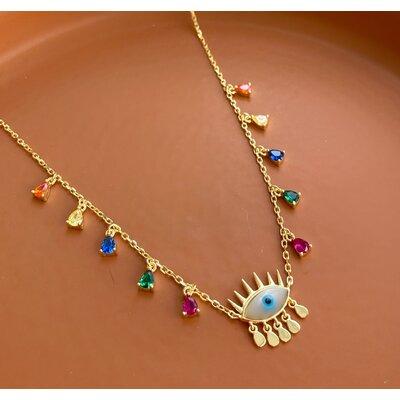 Colar olho grego Boho com gotas Rainbow Joia prata 925 com ouro18k