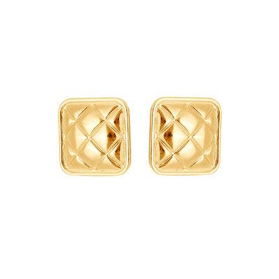 Brinco Botao Quadrado Textura Metalasse Ouro18k