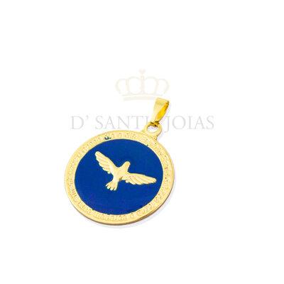 Pingente Divino azul com oração Ouro