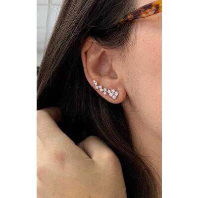 Brinco Ear Curff Ramos Clássico Pontos prata925 ouro branco 18k