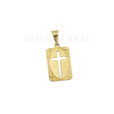 Pingente Placa Cruz Textura Ouro18k