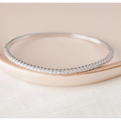 Bracelete solitários uma fileira cravejada ouro branco18k