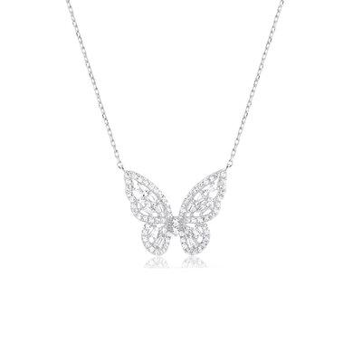 Colar borboleta luxo prata925