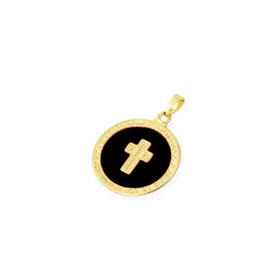 Pingente Cruz Esmaltado Preto Ouro