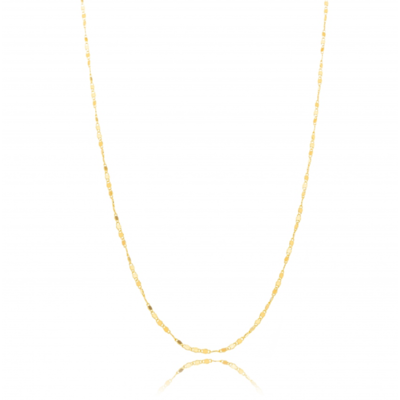 Colar corrente piastrine Delicada diamantada 55cm ouro18k