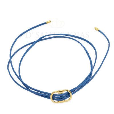 Colar e Pulseira Fio Encerado Azul Marinho com Sodacap Ouro18k