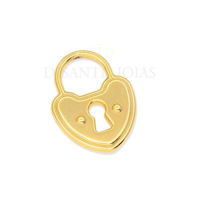 Pingente Cadeado Coração Ouro 18k