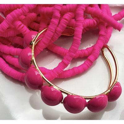 Bracelete Ajustavel Botoes Esmaltados Pink Ouro18k