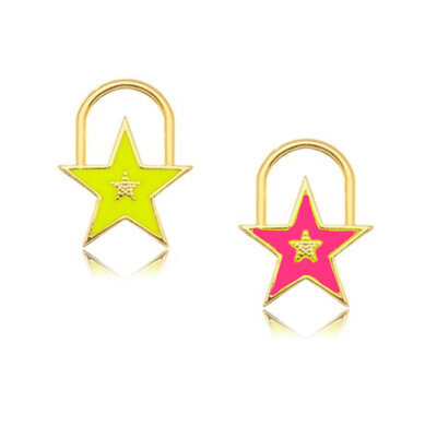 Pingente Estrela Cadeado Neon ( escolha a cor ) Ouro 18k