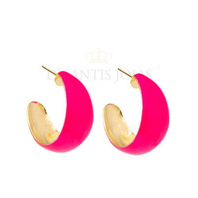 Argola Lagrima G 2cm5mm esmaltada Pink Neon Ouro18k