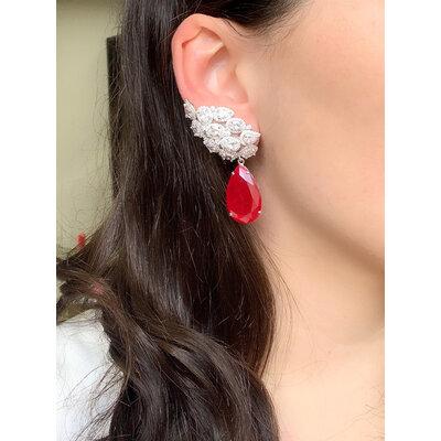 Brinco Ear Cuff Cluster Gota Rubi Prata925