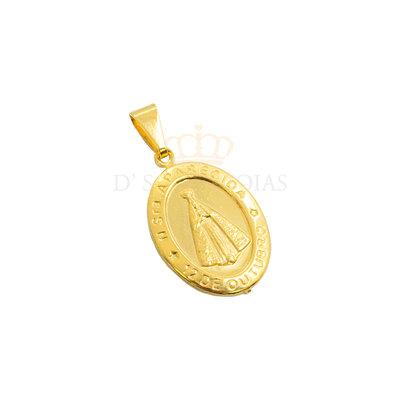 Pingente Medalha Nossa Senhora Aparecida Oval Ouro18k