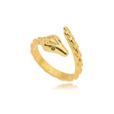 Anel Cobra Texturizado Olho Esmeralda Ouro18k