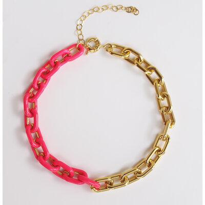 Colar e Choker Elos Metade Esmaltaçao Pink Ouro18k