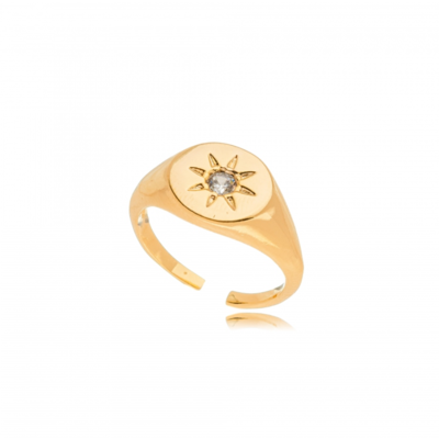 Anel estrela ajustavel ouro18k