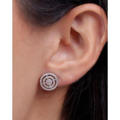 Brinco Espiral clássico Cravejado Prata925