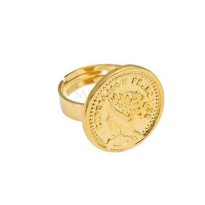Anel Moeda Francesa Ajustavel Ouro18k