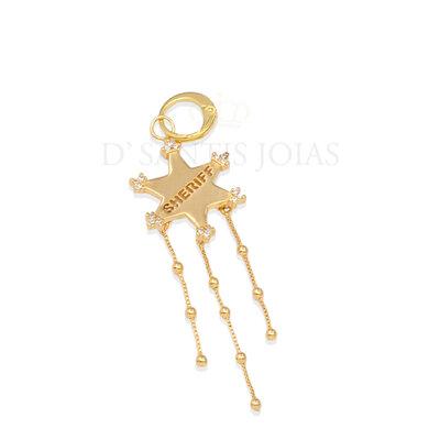 Pingente/ Argola Sheriff Estrela Ouro