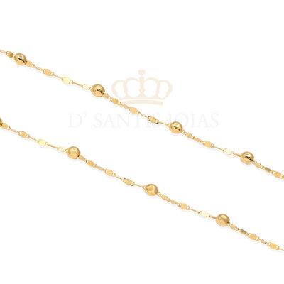 Colar Longo Piastrine com Bolinhas Ouro18k