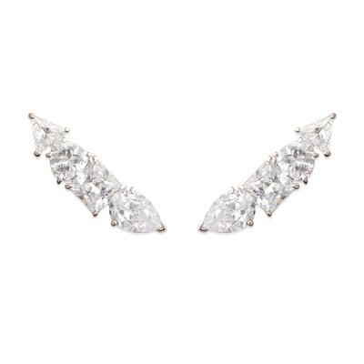 Brinco Ear Cuff Arrow Cristal Prata925