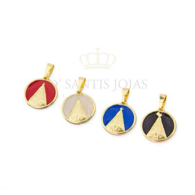 Pingente Nossa Senhora Aparecida Esmaltada Ouro (escolha a cor)