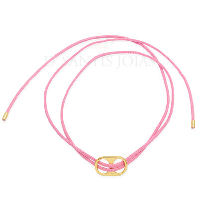 Pulseira e Colar Fio Rosa Chiclete com Sodacap Ouro18k