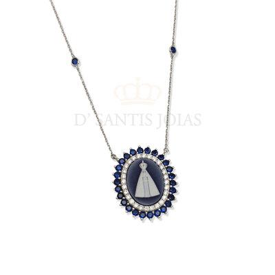 Colar Medalha Nossa Senhora Aparecida Camafeu e Safiras prata925