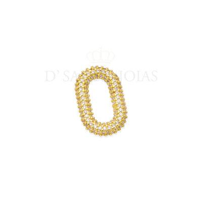 Pingente Oval Cravejado Ouro