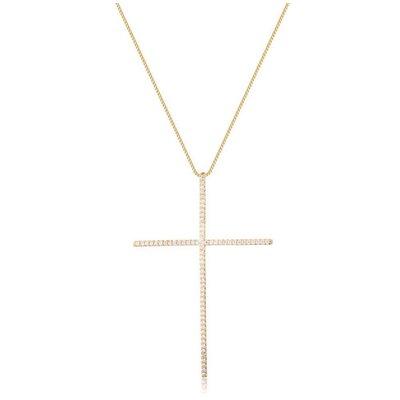 Colar cruz palito classico prata925 ouro18k