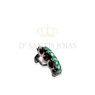 piercing duplo negro com esmeralda prata925
