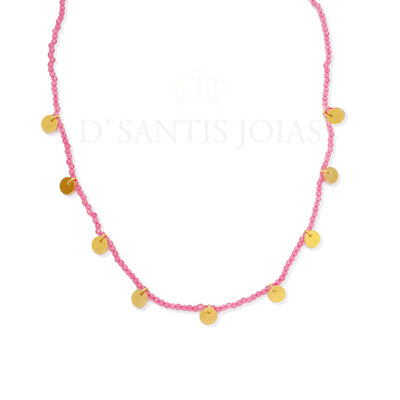 Colar Rondel Rosa Medalhas Boho Ouro18k