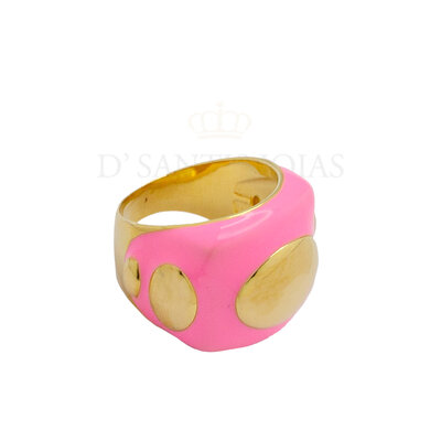 Anel Pop Rosa Chiclete Ouro18k