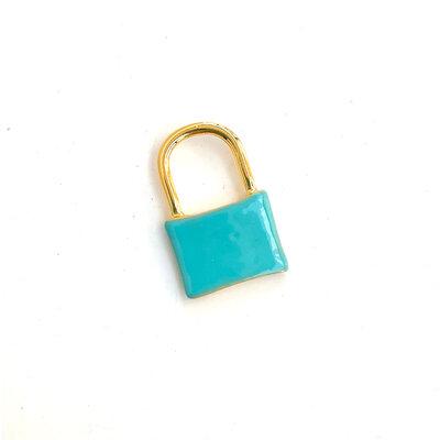 Pingente Cadeado Azul Esmaltado Ouro 18k