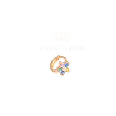 Argola Florzinha Rainbow 7mm Ouro18k (unitaria) / Pode ser usada como piercing