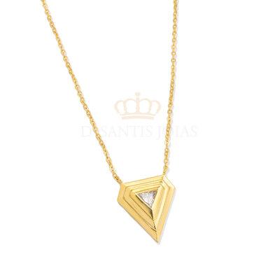 Colar Pentagono ( triangulo invertido ) Cristal Ouro18k